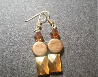 Metallic Gold and Amber Dangle Earrings