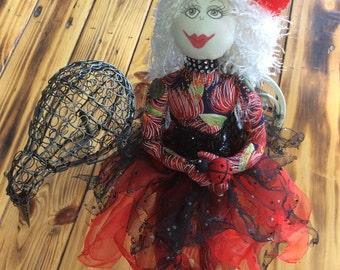 NZ themed fabric doll,OOAK,unique handmade gift,Fairy doll,sitting fairy,textile doll,Pohutakawa Sister 2
