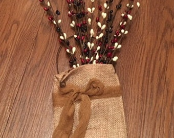 Burlap Bag with Red, White, and Blue Berries