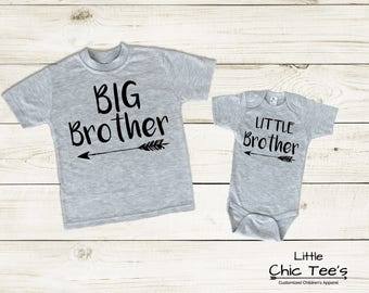 Matching Brother Outfits, Big Brother Little Brother Outfit, Sibling Matching Shirts, Birth Announcement Clothes, Sibling Bodysuit Set