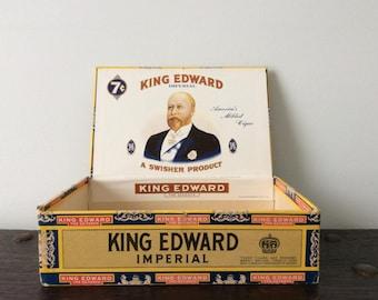Vintage King Edward Cigar Box / King Edward The Seventh / Tobacco / Trinket Box