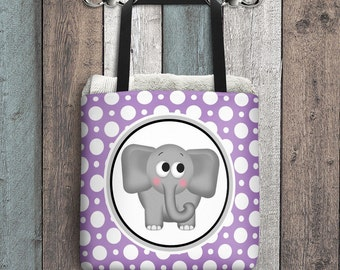 "Cute Elephant Tote Bag - Purple Polka Dot Pattern - Cute Gray Cartoon Illustration - All Over Print 15"" Tote Bag"