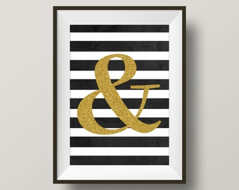 All that glitters is gold sparkly ampersand digital print - home decor instant download