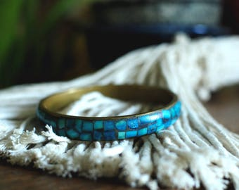Turquoise and Brass Mosaic Bracelet