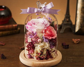 Romantic love gift Large Glass Dome Display of Preserved Real Flowers