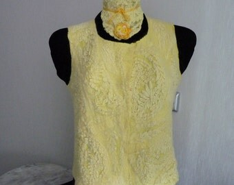 Nuno felted vest, felted waistcoat, Yellow vest, Sleeveless Felt Jacket, merino wool vest, nuno felt clothing, wearable fiber art, Size S/M