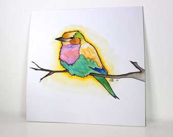 Lilac Breasted Roller Bird ORIGINAL Watercolor painting