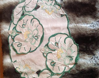 Water lily dressing table cloth. Beautiful hand embroidered, vintage and sooo cute.