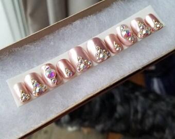 Light rose gold  and Swarvoski Crystal nails|Any size or shape|Fake nails|glue on nails|Press on nails|Matte nails|Stiletto nails|