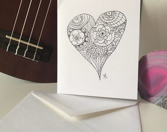 Blank note cards with white envolopes - Heart with Mandalas and Zentangle