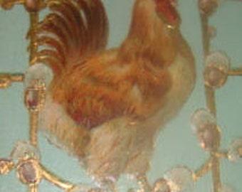 Embossed Vintage Easter Postcard (Rooster)