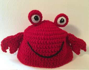 Crochet Crab Hat, Crochet Crab Beanie, Carl the Crab Crochet Hat, Crab Hat, Crab Beanie