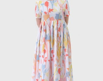 Flowers printed long dress colors
