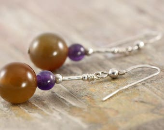 Sterling silver candy gemstone earring with Agate and amethyst