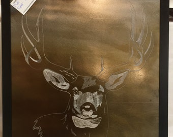 Buck Deer Etching