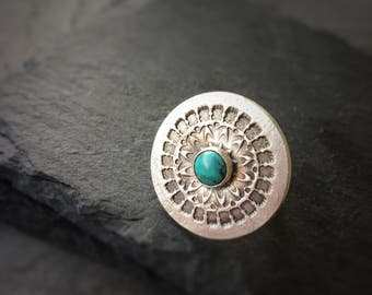 Mandala Turquoise Ring - Fine Silver With Natural Turquoise Ring Big Statement Ring Beach Bohemian Jewelry Blue Stone Ring