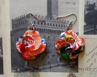 Orange Origami Paper Flower Earrings