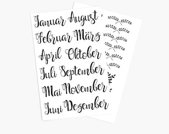 Sticker set months calligraphy. Sticker for 12 months lettering in your bullet journal