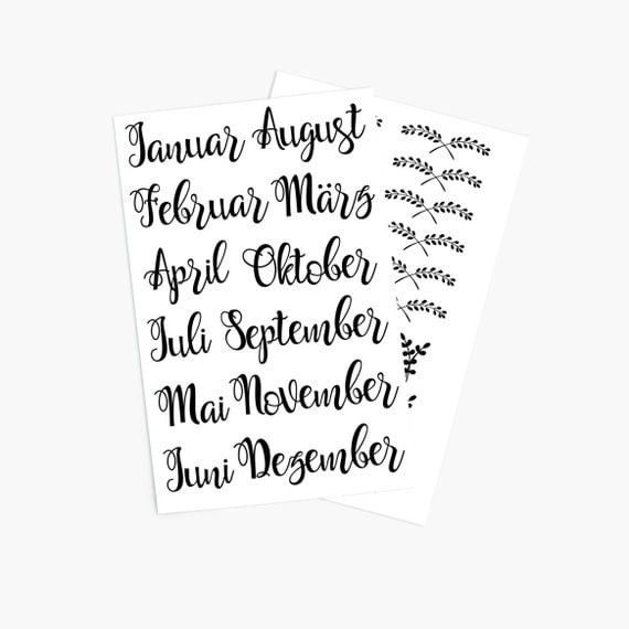 Sticker set months calligraphy for