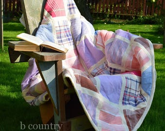 Patchwork homemade quilt Plaid and striped square quilt Purple blue crimson quilt Ready to ship handmade quilt Multicolor patchwork blanket