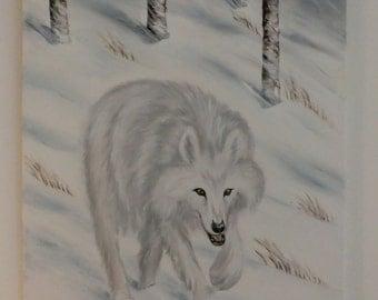 "Oil painting ""Arctic wolf"" cm 40 x 50 Sabine Neubarth Wan"