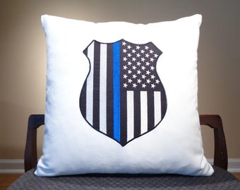 Police Officer Gift, Police Wife Gift, Police Family, Back the Police, Thin Blue Line Pillows, Thin Blue Line Decor, Thin Blue Line Gift