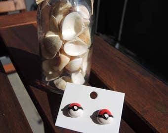 FIMO Pokeball earrings