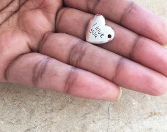 SET OF 10- I Love You Heart Charm, Bracelet Charm, Heart Charm, Silver Charm, Heart Charm, Antique Silver Charm Necklace Charm - C3