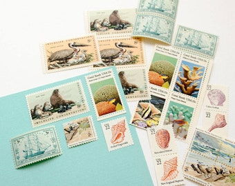 Pastel Beach -- Unused Vintage Stamps -- Postage Set of 5
