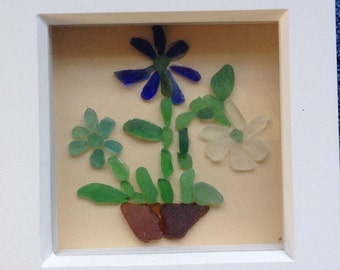 Spring has Sprung! Flowers in a pot: sea glass art