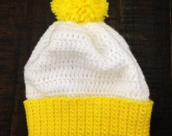 Yellow and White Hat with Yellow Pom Pom Baby