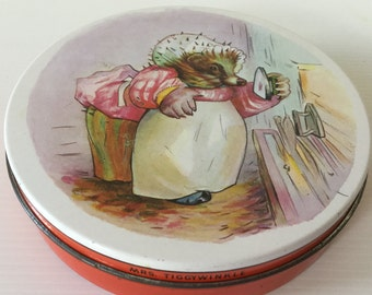 Huntley and Palmers small biscuit tin Mrs Tiggywinkle Beatrix Potter Vintage Decor Collectibles