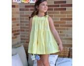 Vestido Plumeti amarillo PATRON de Costura en PDF ** tallas de 1 a 10 años **  Bebes y  niñas Diseño español