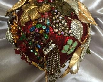 Jeweled Red Handblown Glass Christmas Ornament