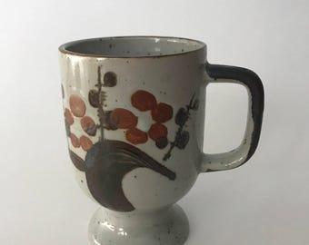 Vintage Speckle Stoneware Mug | Footed Mug | Hand Painted Vintage Stoneware