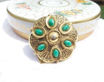 Vintage Gold Tone ART Scarf Clip with Green Stones