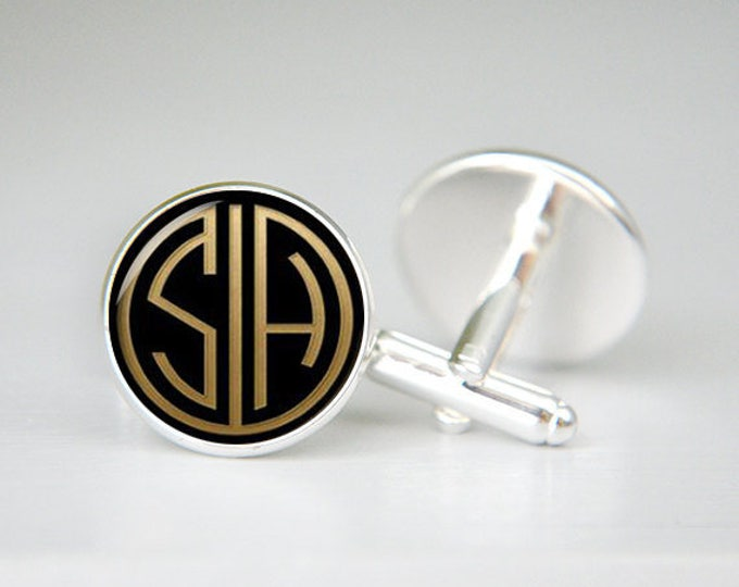 Gatsby retro monogrammed initials personalized cufflinks, cool gifts for men, custom wedding silver plated cufflink