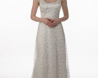 Splash dress - apple green iridescent lace onto silk satin. silk satin frill shoulder details. Scalloped hemline with sweep train.