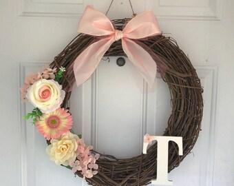 Personalized Wreath - Custom Wreath - Pink - Spring Wreath - Summer Wreath - Door Hanger