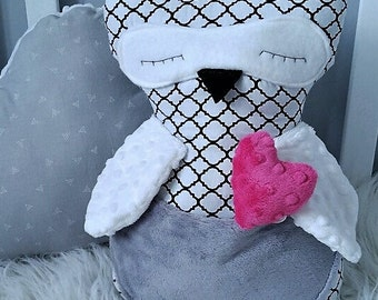 Doggie owls girl black and white handmade wings in minky baby shower gift