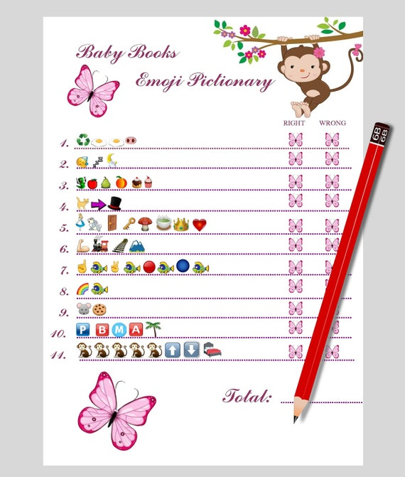 Baby Book Emoji Emoji Baby Shower Game Emoji Pictionary Baby