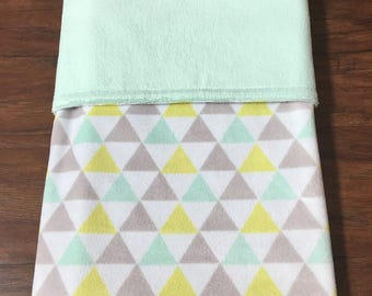 Baby Blanket, Minky Blanket, Baby Minky Blanket, Baby Shower Gift, Nursery Bedding, Gender Neutral, Mint, Grey, Yellow, Baby Branch Boutique