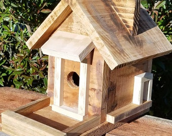 Birdhouse Bird Feeder with chimney Rustic Reclaimed Wood Handmade in California