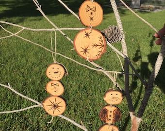 Wood Burn Snowman Ornament