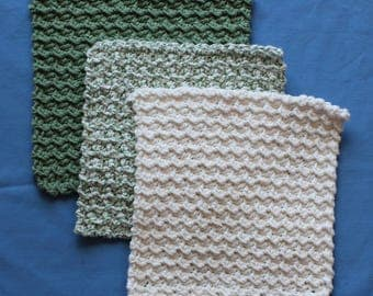 Crochet Textured Cotton Washcloth Set Sage/Ivy/Cream