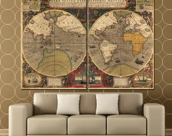 Old World Map Double Hemisphere Canvas Panels Set, Large Ancient World Map Print, Vintage World Map Wall Art for Home & Office Decor