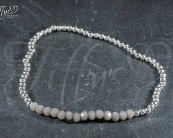 Bracelet * beads 925 sterling silver * grey * bracelet sterling silver