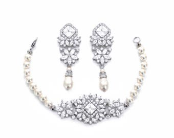 Bridal bracelet set, wedding bracelet earrings set, bridal jewelry set, wedding set, CZ bracelet, CZ earrings, pearl bracelet earrings set