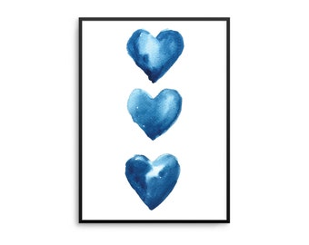 BLUE WATERCOLOUR HEARTS