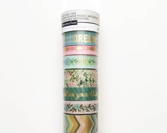 Set of 8 Washi Tapes, Recollections, Floral and Gold